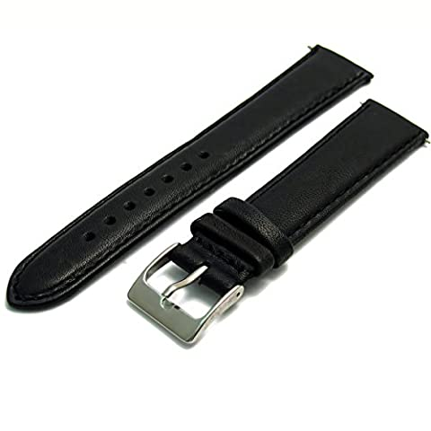 Soft Genuine Leather watch Strap Band 16mm, Black, Chrome (Silver