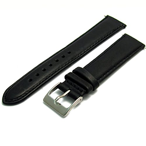 soft-genuine-leather-watch-strap-band-20mm-black-chrome-silver-colour-buckle