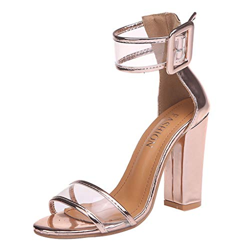 TUDUZ Damen Latin Dance Schuhe Hohe AbsäTze Frauen dicken Boden fischmaul Schuhe Keile Sandalen Mode knöchel Schnalle Sandalen Geschlossene Ballerinas(Gold,42EU)