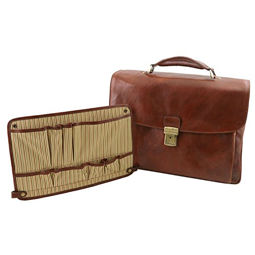 Tuscany Leather Alessandria - Cartable porte ordinateur TL SMART multi compartiments en cuir - TL141448 (Miel) Marron foncé