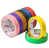 YUEMING Cinta de colores Cinta Adhesiva Decorativa Cinta adhesiva decorativa para enmascarar La cinta de enmascarar multicolor es ideal para manualidades, pintura, embalaje y etiquetado.