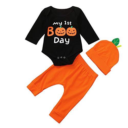 Yesmile Kinder Halloween Kleidung 3PCS Halloween Kleidung Neugeboren Kinder Halloween Kostüm Kind Kinderkostüme Niedlich Kürbis Drucken Baby Outfits Set
