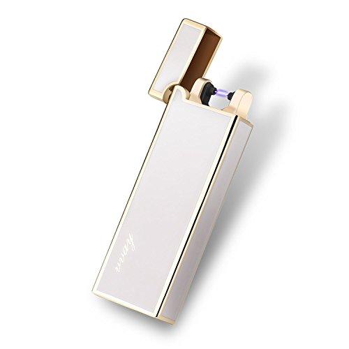 Usb Elektronisches Feuerzeug, VVAY Elektrische Feuerzeuge Aufladbar Windsicheres Flammenloses Zigaretten Feuerzeug mit Deckel Weiß
