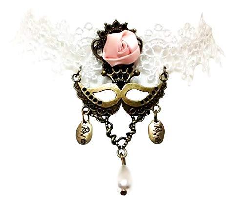Inception pro infinite collana - girocollo - stile gotico - pizzo - macramè - bianco - rose - fiori - raso e maschera in metallo - ciondoli