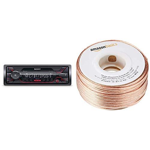 Sony DSX-A410BT MP3 Autoradio (Dual Bluetooth, NFC, USB, AUX Anschluss, Beleuchtung, 4 x 55 Watt, Freisprechen) rot & AmazonBasics Lautsprecherkabel 1,3 mm² / 16 Gauge, 30,48 m (100 Fuß)