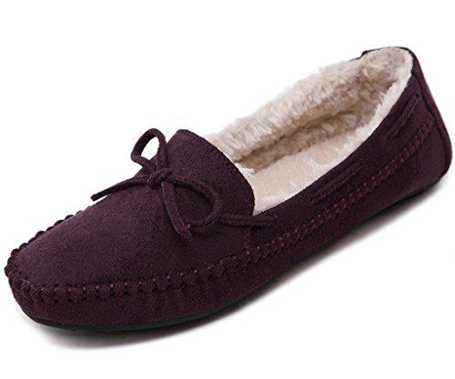Mokassins Hausschuh Warme Erbsen Schuhe Flache Stiefel Mit Bowknot Loafers Schuhe Weinrot EU 37 ()