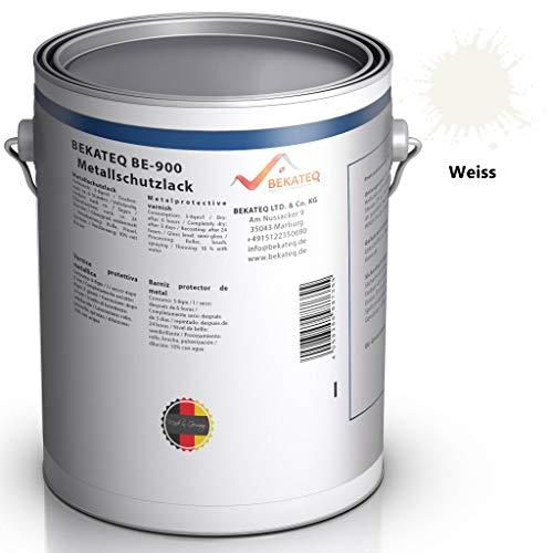 BEKATEQ BE-900 Metallschutzlack, 1l Weiss, Rostschutzfarbe für Tore, Metallzaun, Container Korrosionsschutz, Buntlack, Metallfarbe