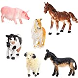 ROSENICE 6 Stück Bauernhoftiere Figuren Spielzeugfigur Set Schwein Hund Kuh Schaf Pferd Esel