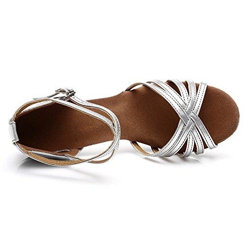 SWDZM Damen Ausgestelltes Tanzschuhe/Standard Latin Dance Schuhe Satin Ballsaal ModellD213-7 Silber EU38.5 - 4