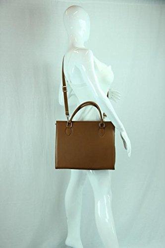 Sac main femme avec bandoulière, 100% cuir véritable Made in Ital sable brun