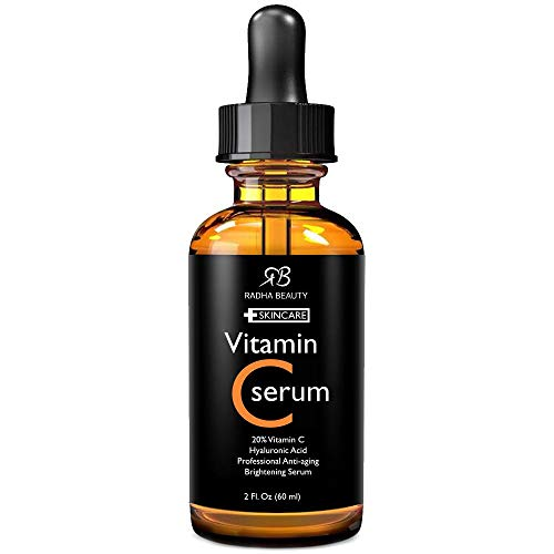 Radha Beauty - Vitamin C Serum For Face 2 Oz - 20% Organic Vitamin C + E + Hyaluronic Acid - The Most Effective Anti Aging Serum With...