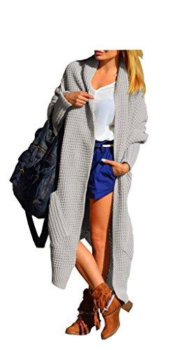 Damen Strickjacke Langarm Boho Cardigan Oversize 36 38 40 (Grau)