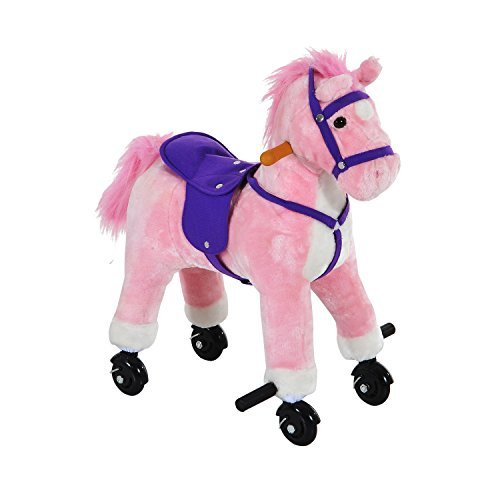 HOMCOM Wooden Action Pony Wheeled Walking Horse Riding Little Baby Plush Toy Wooden Style Ride on Animal Kids Gift w/Sound (Pink)