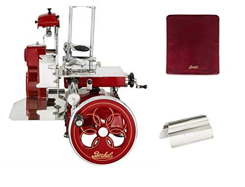 Berkel - Tribut Schwungrad - Berkel Rot mit Golddekor - Geblühtes Schwungrad + Roter Slicer Deckel + Schinkenzange
