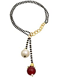 JFL - Traditional And Ethnic One Gram Gold Plated Black Bead Mangalsutra Bracelet With Pearl And Red Bead For...