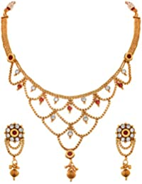 JFL - Traditional Ethnic One Gram Gold Plated Diamond With Kundan Designer Necklace Set For Wome.