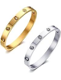 Vnox Pulsera de cristal de acero inoxidable de diamantes de imitación pulsera para hombres mujeres,64 mm de diámetro