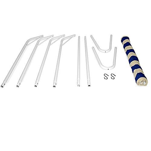 Hängematte mit Metallgestell 200×80 cm creme/blau bis 150kg - 4