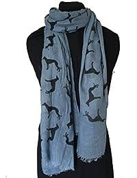 bcbce0baff5 Ciel bleu avec grande écharpe lévrier noir long avec un bored effiloché --  Sky blue with black Big greyhound scarf with…