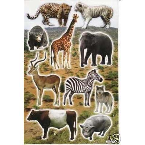 Elefante Giraffa Tiger Zebra adesivi 10pezzi 1fogli