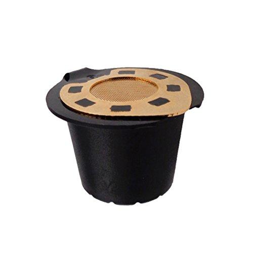 OUNONA Cápsula recargable del filtro del café del acero inoxidable de la cápsula de Nespresso para las máquinas de Nespresso (galjanoplastia de oro)