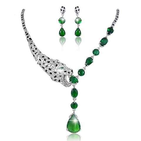 EVER FAITH® Austrian Crystal CZ Jewellery Set Leopard Green A10559-2