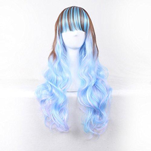 Frauen blaue braune gemischte blonde spezielle Farben-Perücke-hitzebeständige Cosplay Frauen-Perücke für Halloween / WeihnachtsParty + Perücke-Kappe