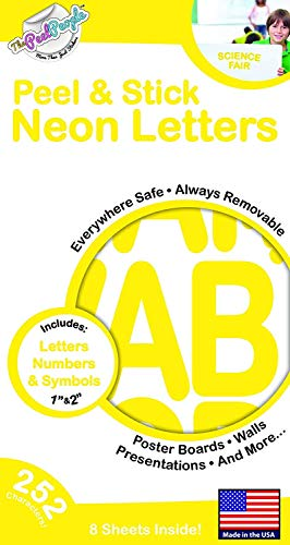 The Peel People Aufkleber Buchstaben und Zahlen, 2,5 cm und 5 cm Neon, 252 Stück -
