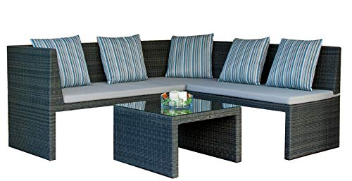 Chillzone Eckbank Rattan Bank Lounge Sarami mit Tisch (Set mit 3 Sitz Bank 2 Sitz Bank und Tisch)