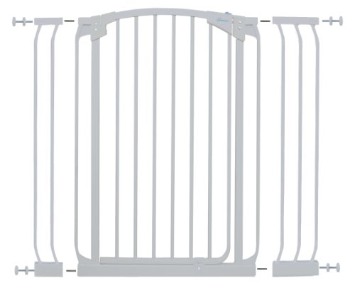 Dreambaby F782W Chelsea extra großes Treppenschutzgitter / Türschutzgitter-Set selbstschließend - 1 Gitter + 2 Verlängerungen (71-107cm) weiss