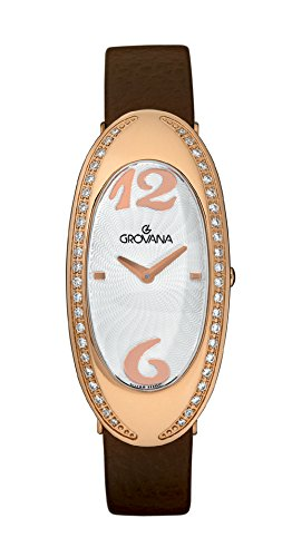 GROVANA 4414.7562 Women's Quartz Swiss Watch with White Dial Analogue Display and Brown Leather Strap