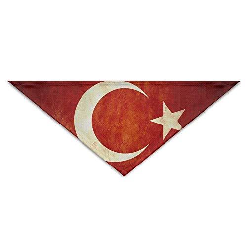 (Sdltkhy Retro Moon Sun Turkish Flag Dog Bandanas Scarves Triangle Bibs Scarfs Retro Basic Neckerchief Cat Collars Pet Costume Accessory Kerchief for Large&Medium&Small Puppy)