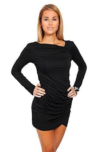 Futuro Fashion Trendy Femmes Mini Robe Manches Longues Asymétrique Tunique Col 6053 Noir