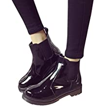 Botas Militares para Mujer Otoño Invierno PAOLIAN Moda Zapatos de Charol Mediano Alto Botas de Agua
