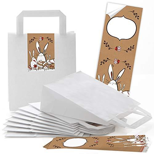 eine weiße Verpackung Henkeltüte Papiertüte mit Griff 18 x 8 x 22 cm + Osteretiketten 7,2 x 21 cm Frohe Ostern Geschenktüte Aufkleber braun rot Give-Away Deko Osterhase ()
