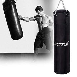 Aufun Boxsack gefüllt schwarz 105cm*25cm, 25kg mit Halterung Drehwirbel...