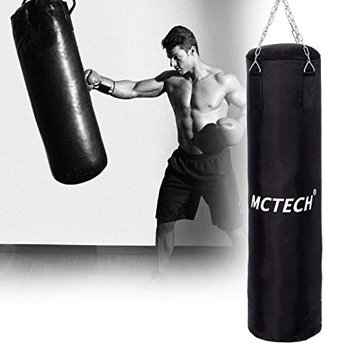 Aufun Boxsack gefüllt schwarz 105cm*25cm, 25kg mit Halterung Drehwirbel Stahlkette für Kinder und Erwachsene Ideal für Boxen und Kickbox Training