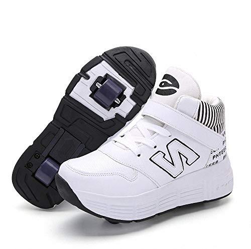 Miarui Kinderschuhe mit Rollen Mädchen Jungen Mode Rollenschuhe Unisex-Kinder Skateboard Schuhe Skateboard Schuhe Sportschuhe Laufschuhe mit Automatisch Verstellbares Räder,3,37