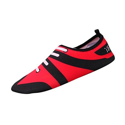 FNKDOR Unisex Fitnessschuhe Aquaschuhe Breathable Schlüpfen Schwimmschuhe Yoga Schuhe für Damen Herren, Gummisohle Elastischen Stoff (37, Rosa)