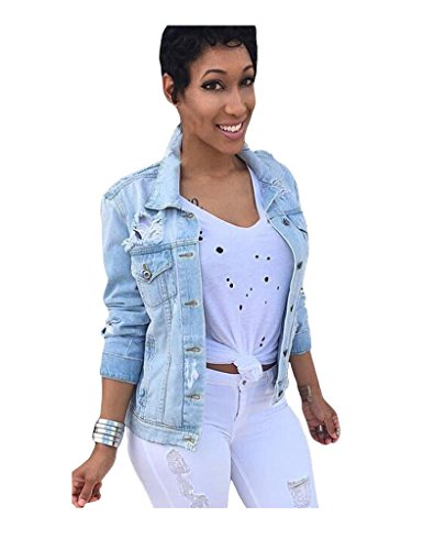 Legou Damen Denim Jacket Jeansjacke Beiläufige Outwear Jeans Mantel Licht Blau XL