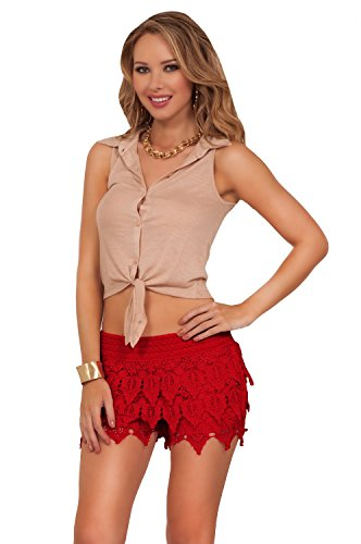 Shorts bonneterie hipsters occasionnels stretch Mini rouge rubis