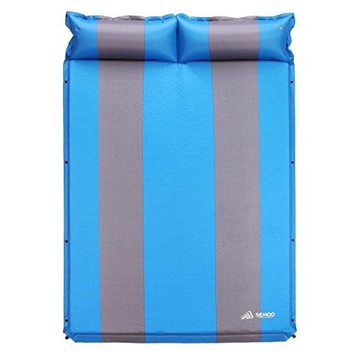Semoo Selbstaufblasbare Luftmatratze für 2 Personen mit Kopfkissen, 190T Polyester, 193 x 132 x 3 cm, Mattenoberfläche ist Wasserabweisend und Rutschfest