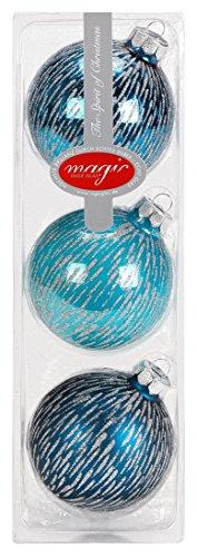 I. Christmas Decor Lot de 3 Boules de Noël Turquoise 8 cm