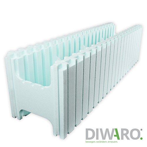 DIWARO PS30 Styropor Poolstein Systemstein, Schalungsstein zum herstellen von isolierten Poolwänden oder Garagen. Abmasse: 1000 x 250 x 250 mm.