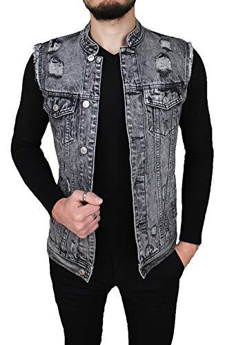 Evoga Giubbotto smanicato di Jeans uomo casual grigio cotone denim giacca  slim fit moto (XXL afca800f7f8