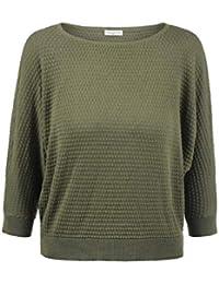 572d82ec9411 ONLY EULA Damen Strickpullover Feinstrick Pullover Mit Rundhals Und  Perlstrick-Muster Aus 100% Baumwolle