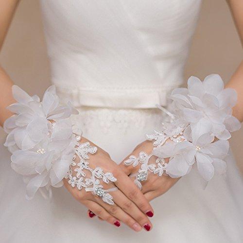 KHSKX Braut - Spitze Rote Seide Blume Handschuhe Hochzeit Mit Kurzen Fingern Hochzeitskleid...