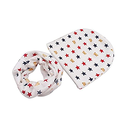 Kingko® Baby Cute Hats Scarfs Infant Baby Winter Cotton Hat and Scarf Set (White)