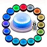 Lacgo 18 LEDs, 16 Farboptionen, Fernbedienung, aufladbar, für Hochzeiten, unter Tisch, wasserdichte LED-Lampe, mehrfarbig, Schwimmbad-Licht für Hotels, Bars, Zuhause und draußen, Dekoration (1 Stück)