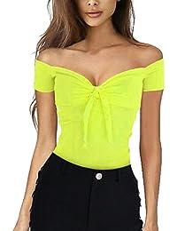 f38240ec74251 ❤️LILICAT Mode Femmes Sexy Casual Off épaule Débardeur Gilet Blouse Crop  Tops Shirt Court V
